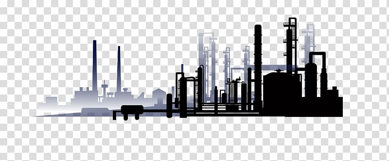 Black factory silhouette illustration, Oil refinery.