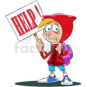cartoon refugee needing help no background clipart. Royalty.