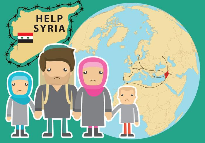 Help Syria Refugee Vector.