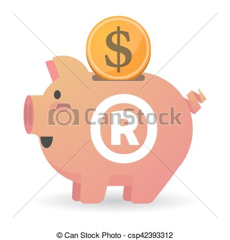 Vector Clip Art of Isolated piggy bank with the registered.