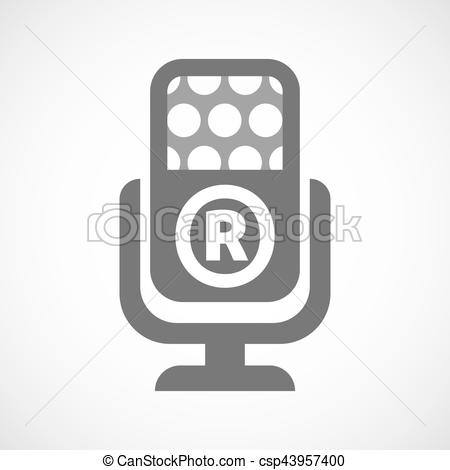 Vector Clipart of Isolated mic with the registered trademark.