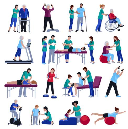 Physiotherapy Rehabilitation People Flat Icons Collection.