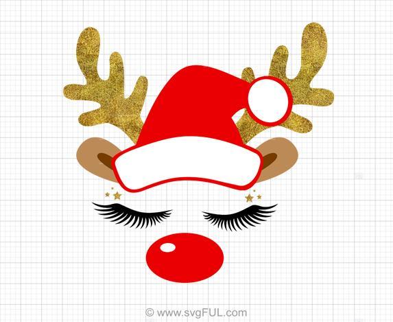 Glitter Reindeer Face Christmas Svg Clipart.
