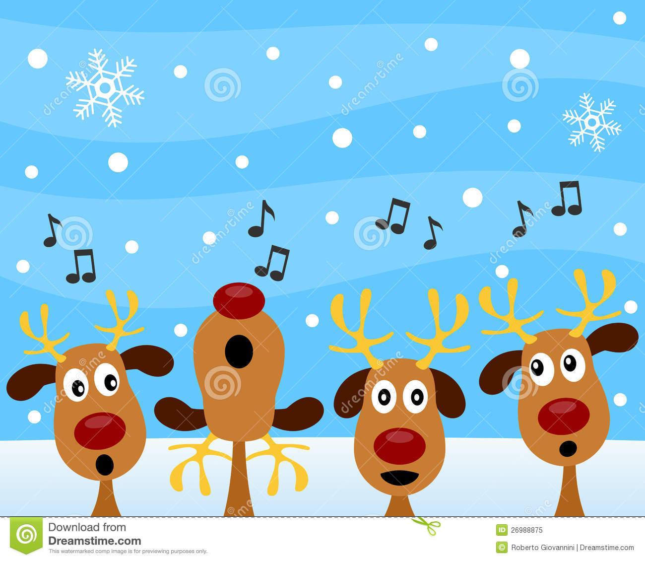 Clipart Reindeer Singing Christmas Carols.