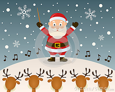 Christmas Carol With Reindeer Royalty Free Stock Photo.