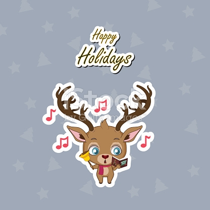 Greeting Of A Cute Reindeer Singing Christmas Carols stock vector.