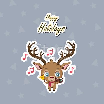 Greeting Of A Cute Reindeer Singing Christmas Carols stock vector.