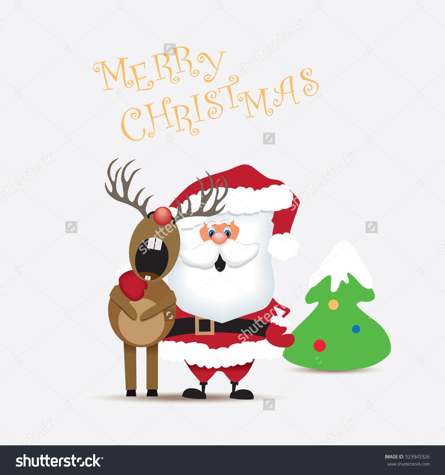 Santa Claus Reindeer Singing Christmas Carolvector Stock Vector.