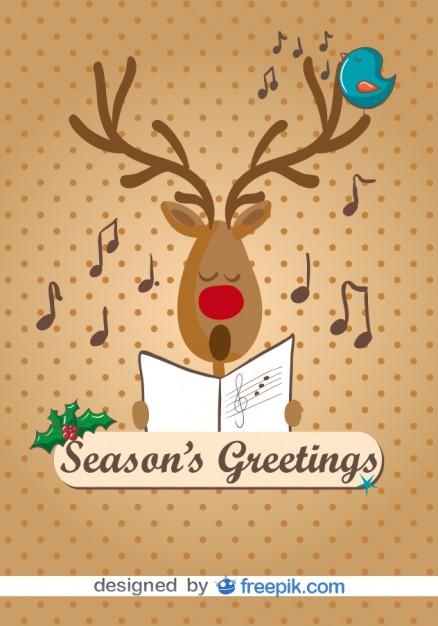 Reindeer singing christmas carols card Vector.
