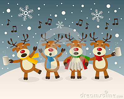 Drunk Reindeer Singing On The Snow Royalty Free Stock Photo.