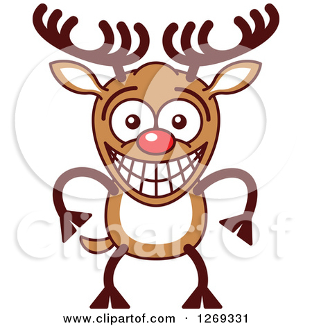 Clipart of a Christmas Rudolph Reindeer Singing Christmas Carols.