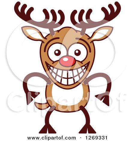 Clipart of a Christmas Rudolph Reindeer Singing Christmas Carols.