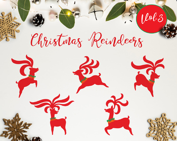 The Christmas Reindeer Vol.3 / Reindeers Christmas Clipart / Red Reindeers.