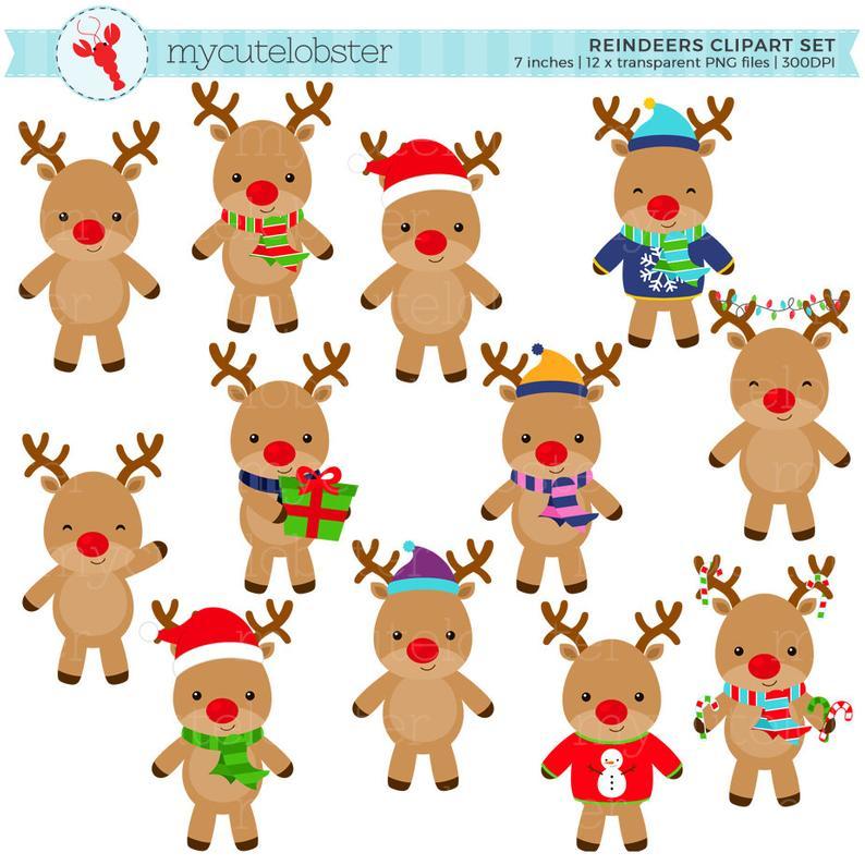 Reindeers Clipart Set.