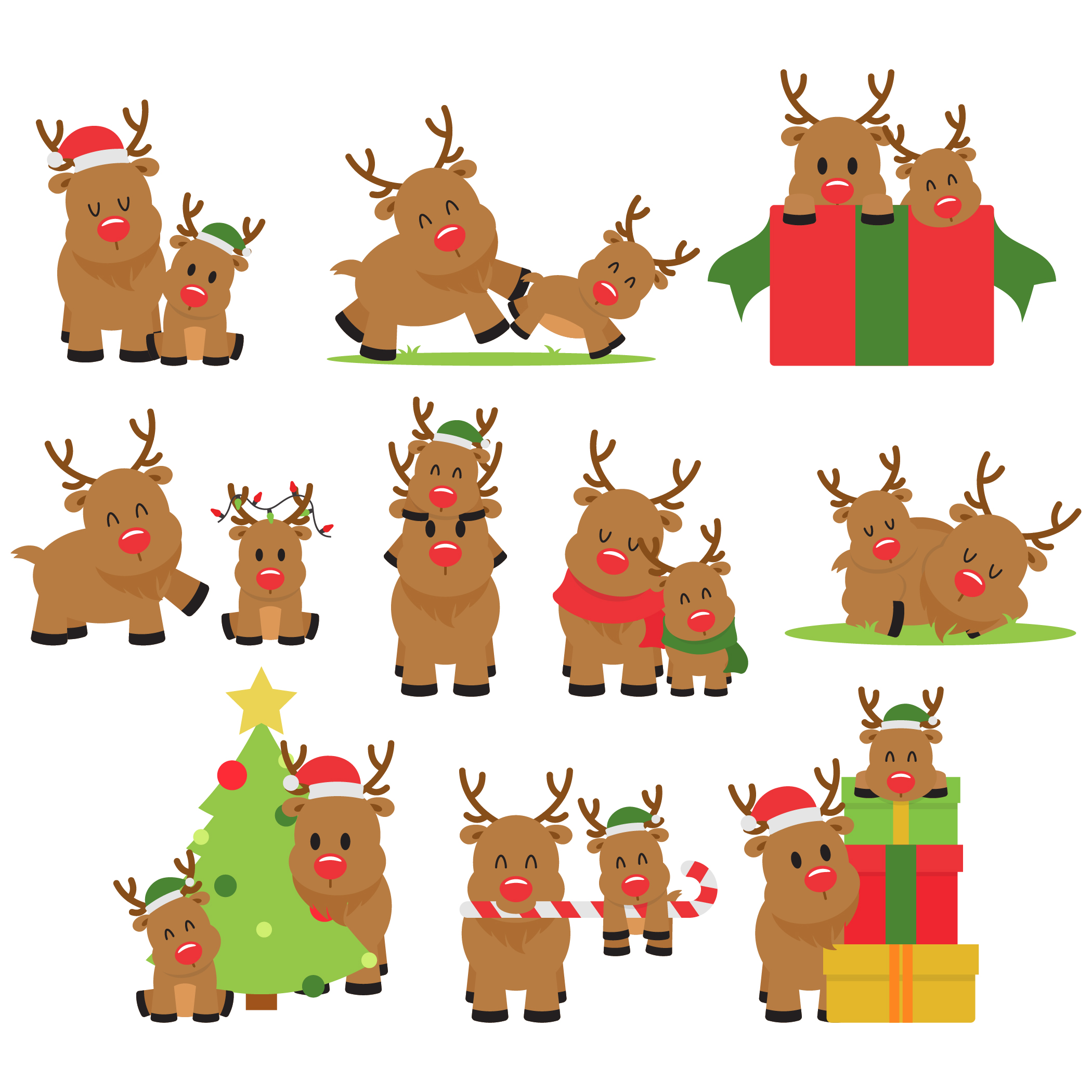 Reindeers Set Semi Exclusive Clip Art Set For Digitizing and More.