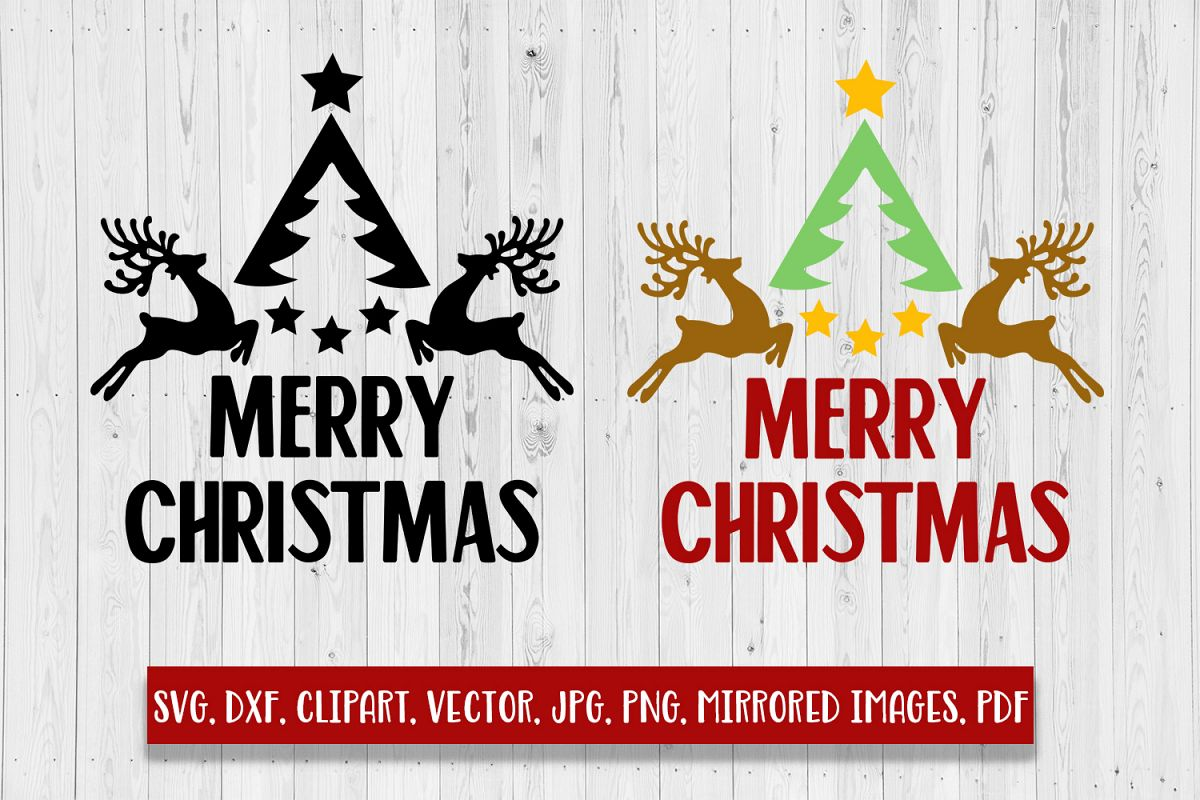 Merry Christmas with tree and reindeers SVG, DXF, Clipart.
