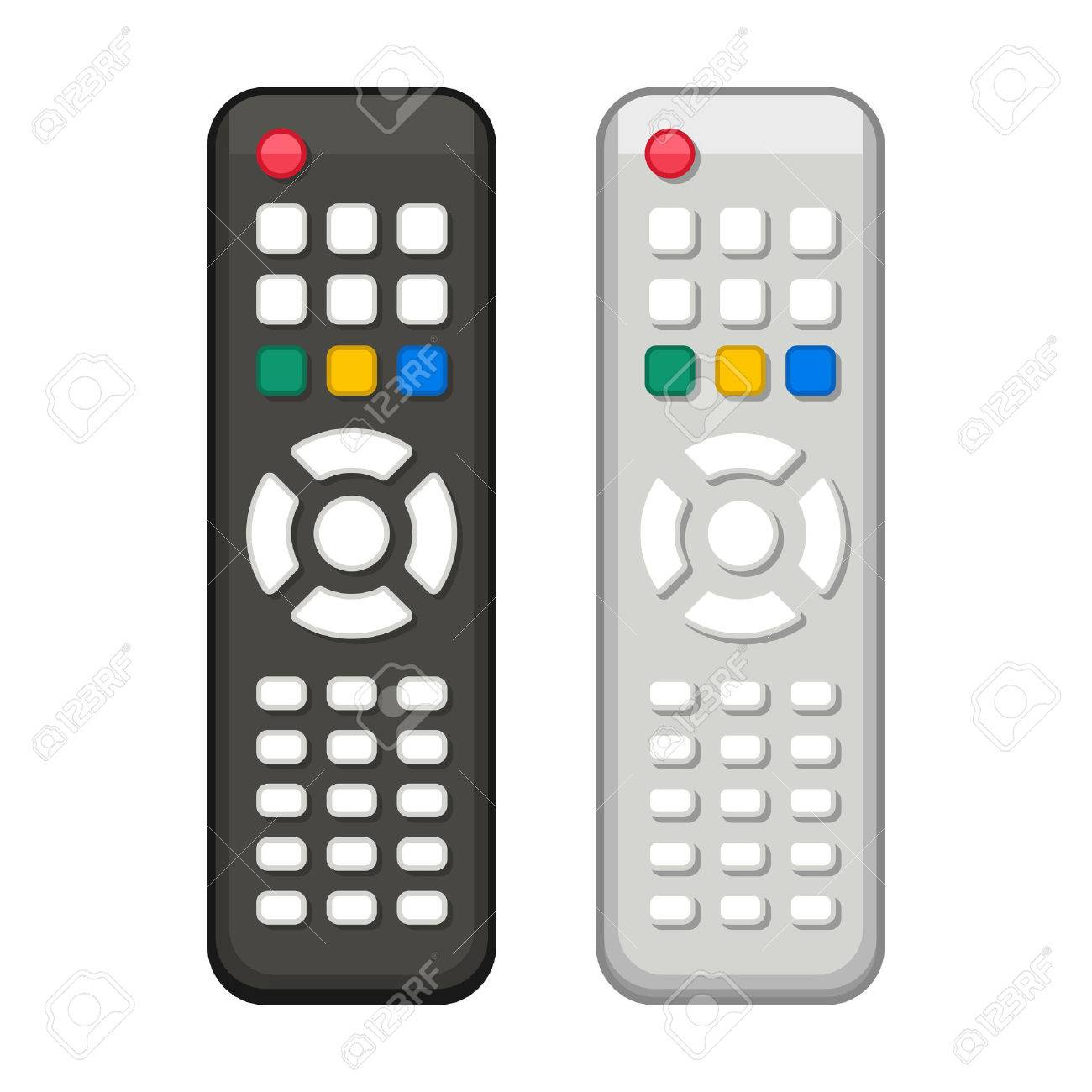 TV Remote Control in Black and White Design. Vector.