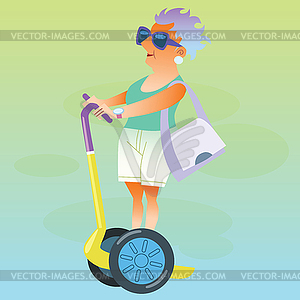 Female pensioner in vacation goes on electric.