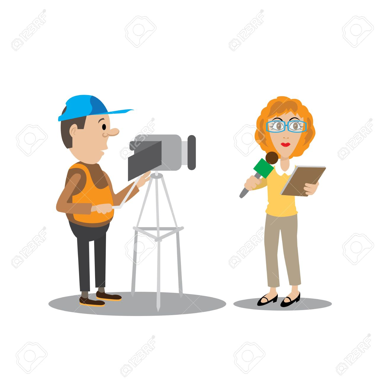 Boy Girl News Reporter Clipart Free