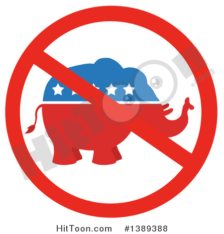 Republican Elephant Clipart #1389388: Restricted Symbol over a Red.