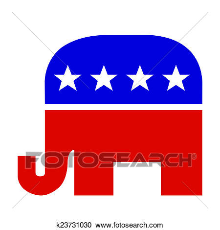 Red White and Blue Republican Elephant Clipart.