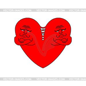 Resentment heart sign. quarrel Symbol. Insult and.