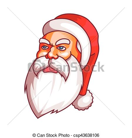 Santa claus emotions. Grudge, unhappiness, resentment. Part of christmas  set. Ready for print..