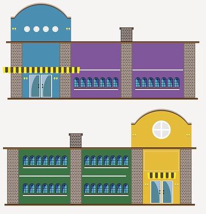 Modern restaurant building Clipart Image.