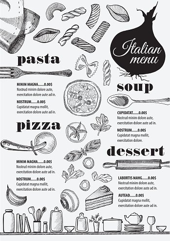 Menu Italian Restaurant, Food Template premium clipart.
