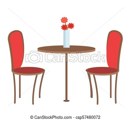 Empty Restaurant Table with Three Flowers in Vase.