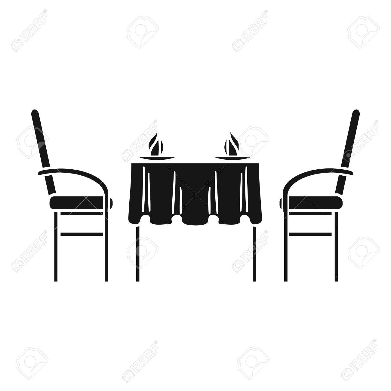 Restaurant table icon in black style isolated on white background.