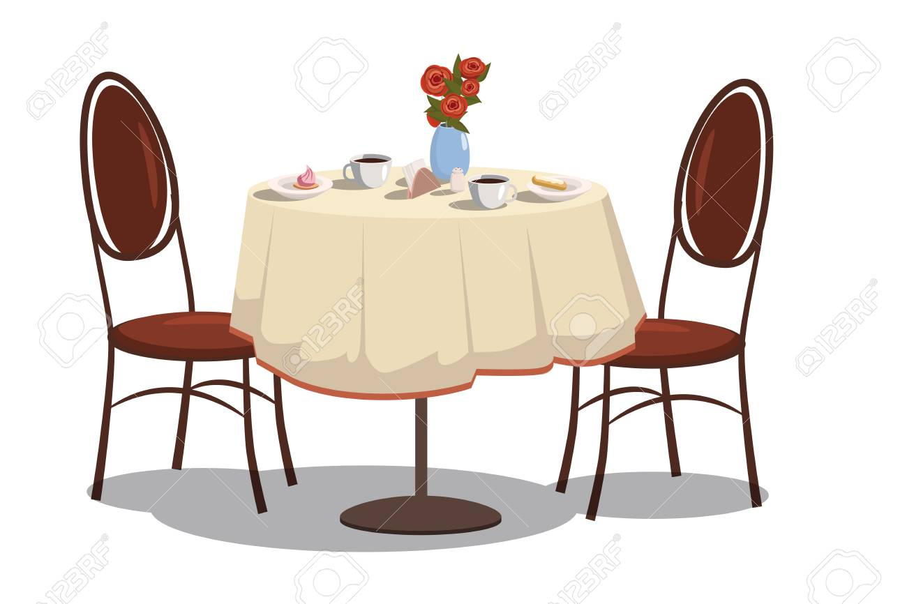 Modern restaurant table with tablecloth, coffe mugs, flowers,...