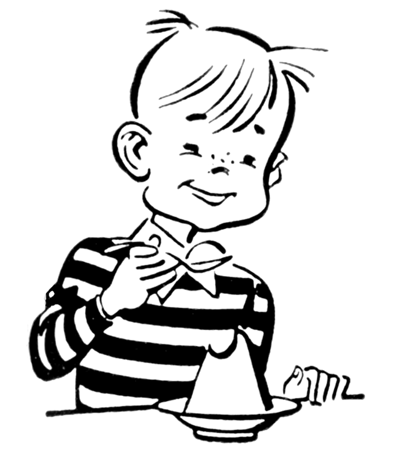Clipart Retro Boy Black White.