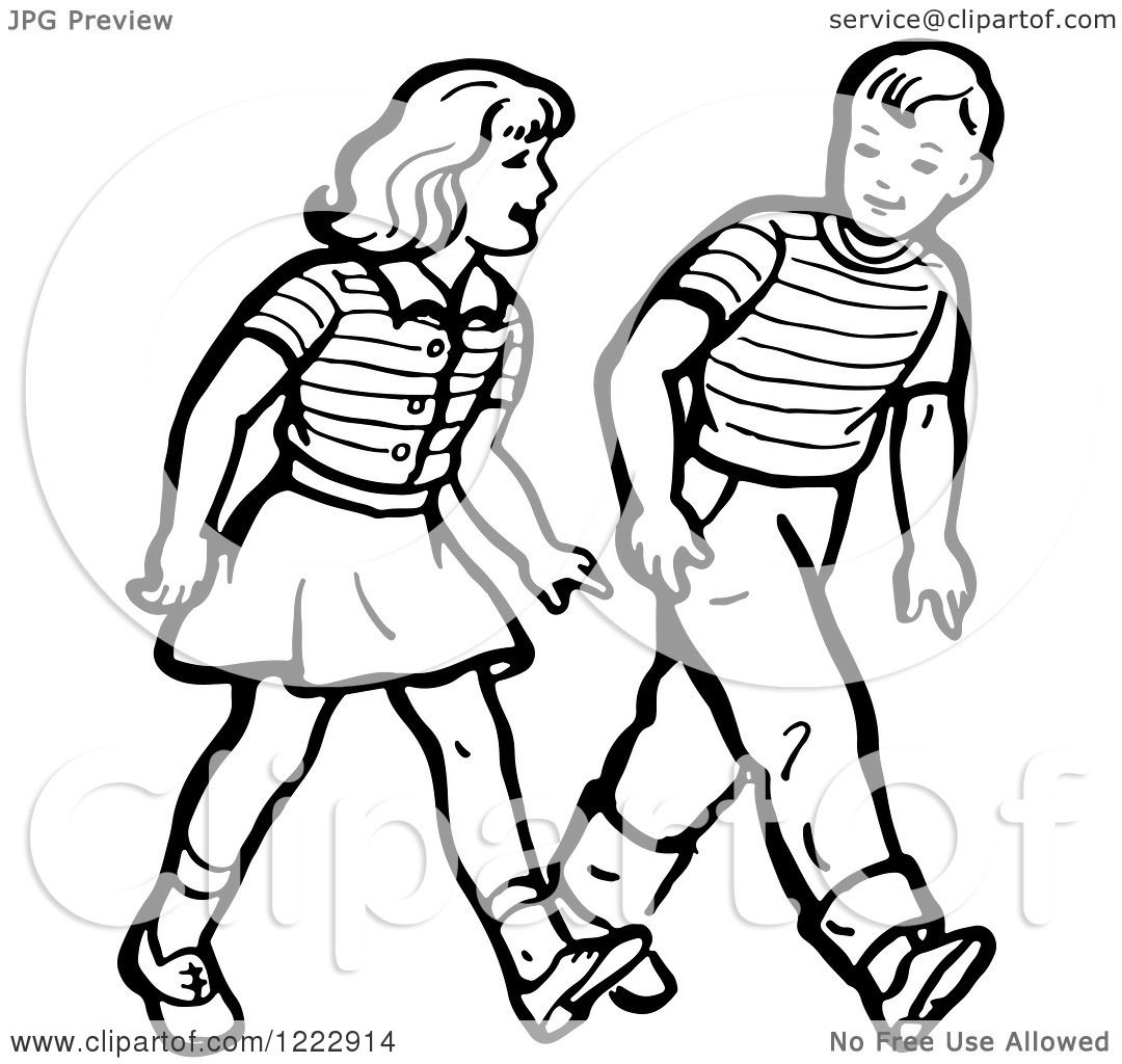 Clipart of a Retro Boy and Girl Walking in Black and White.