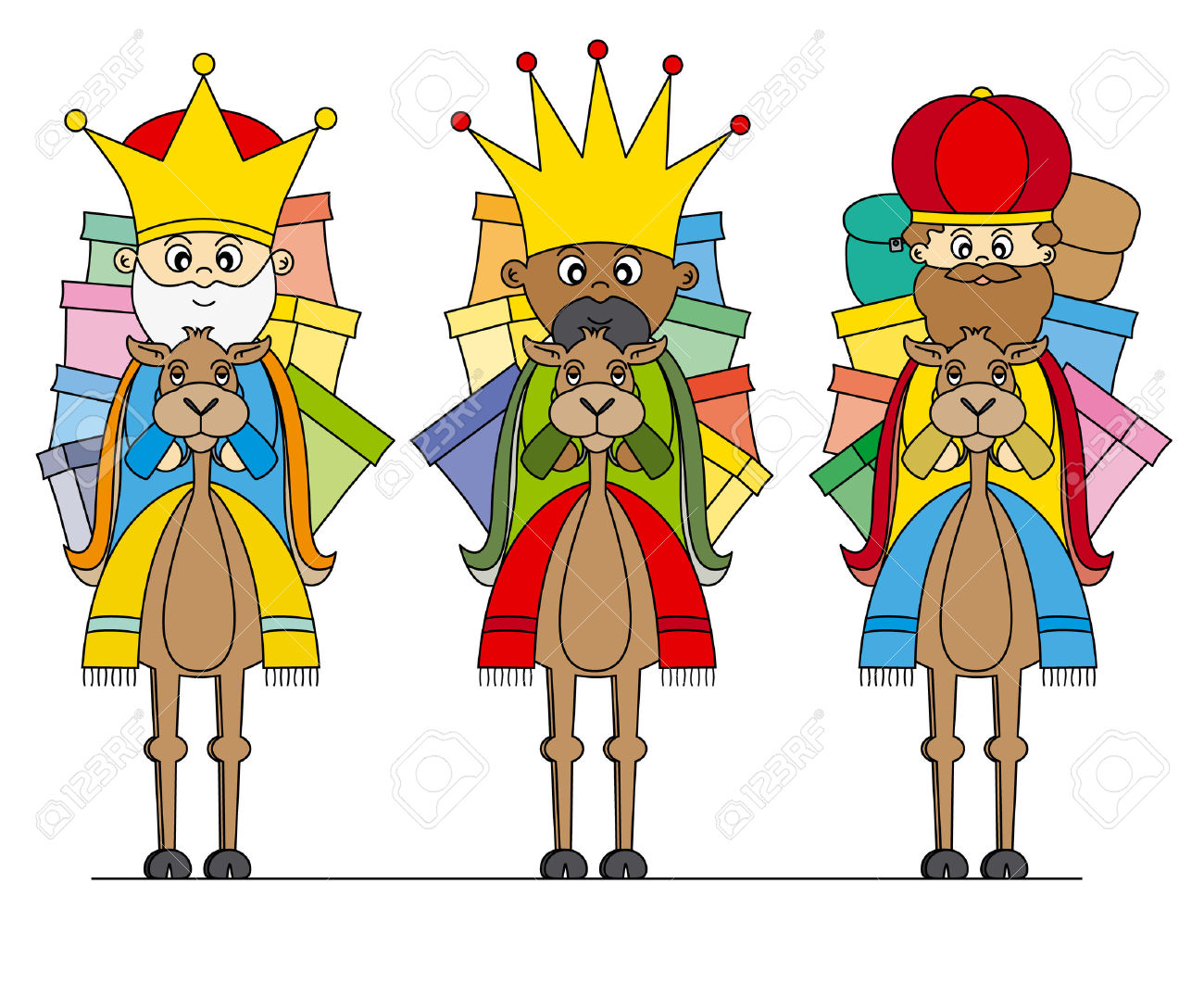 Reyes Magos En Camellos Ilustraciones Vectoriales, Clip Art.