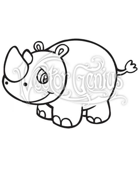 High Resolution Cute Fat Rhino Clip Art Stock Art.
