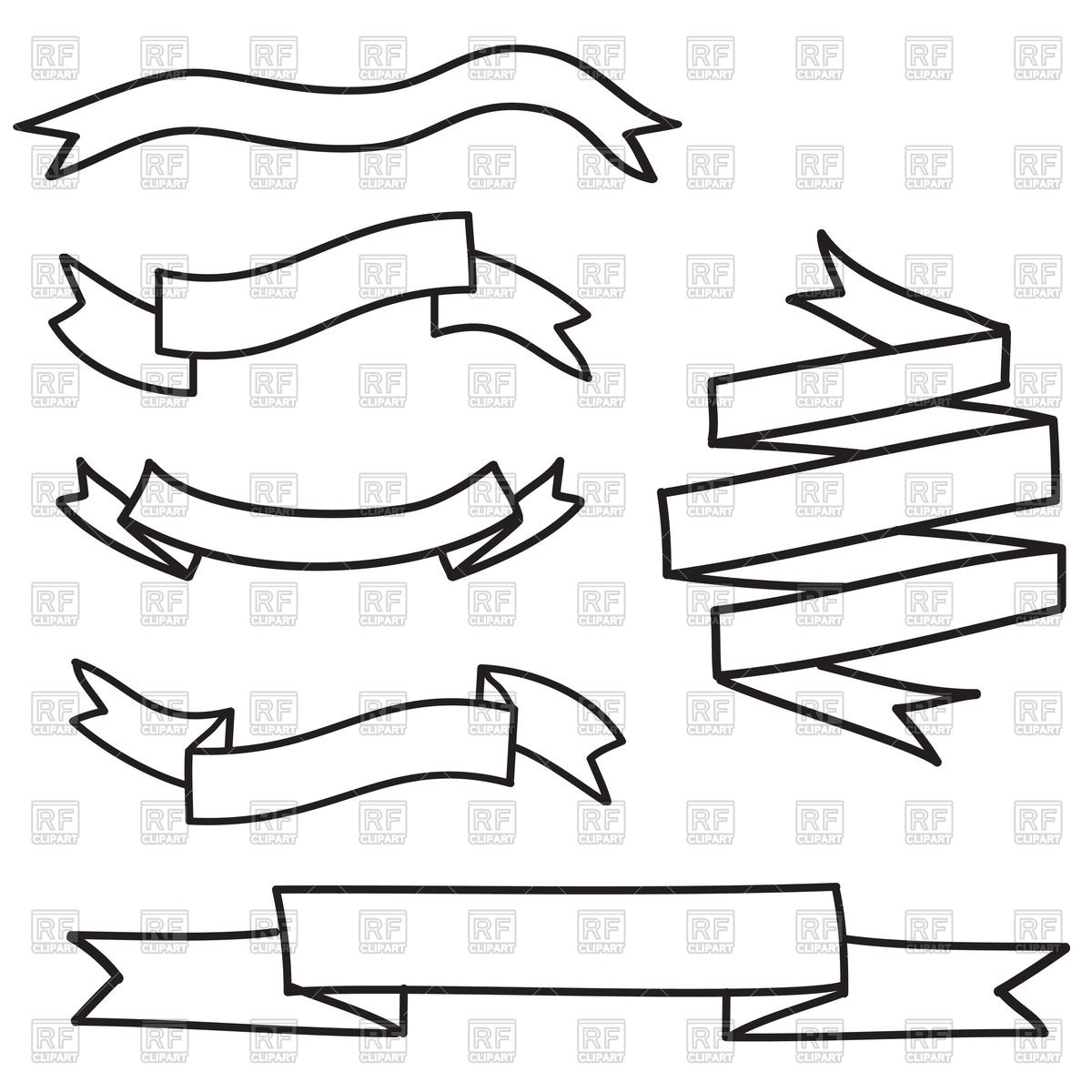 Outline of banners and ribbons Stock Vector Image.