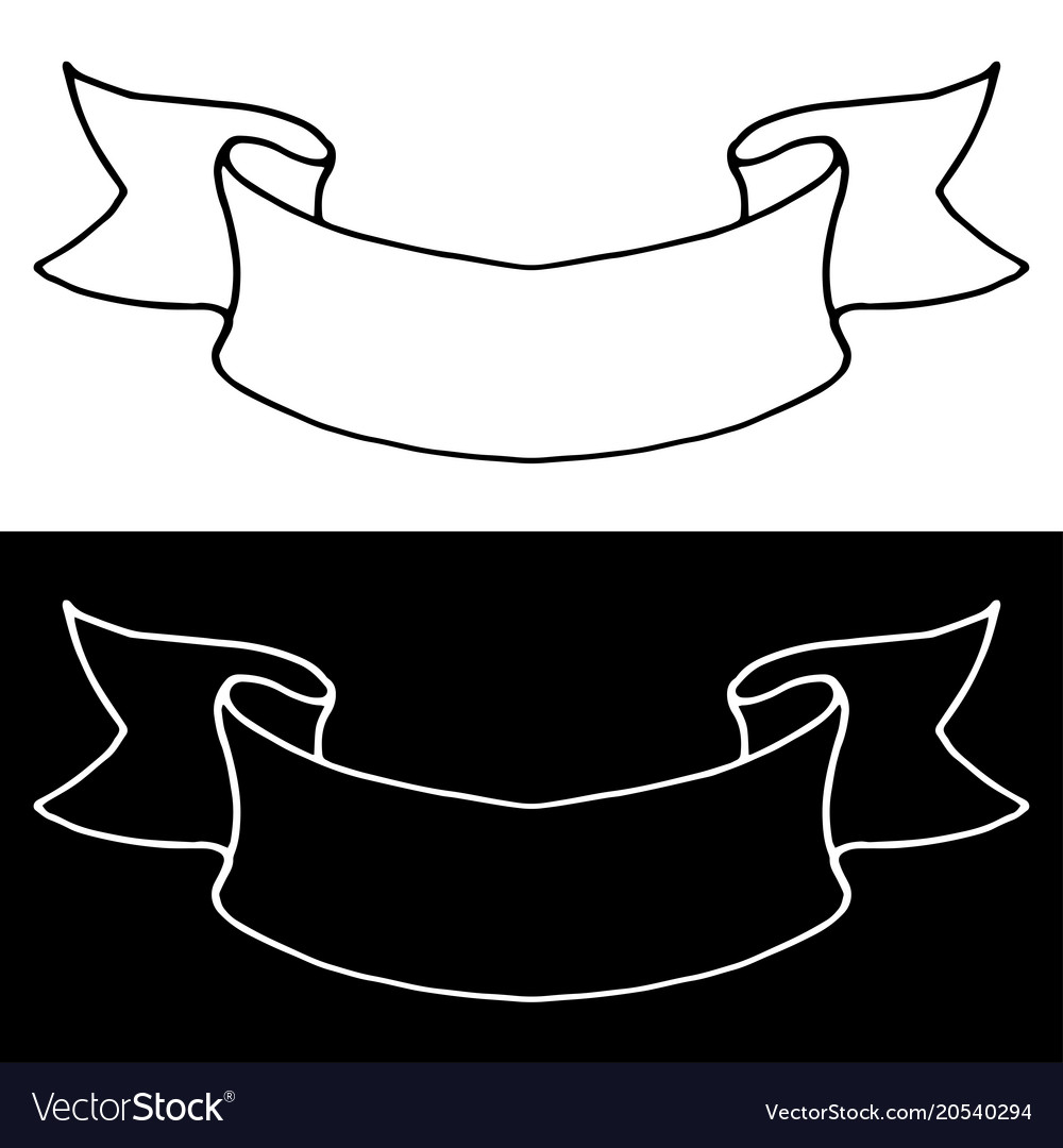 Ribbon banner simple outline icons black and.
