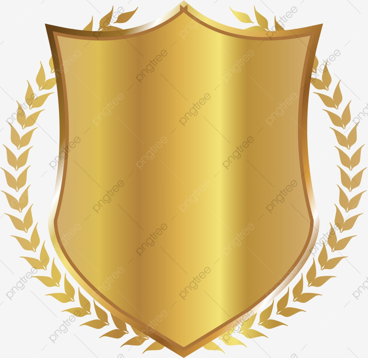 Golden Shield Rice, Shield Clipart, Rice Clipart, Golden PNG.