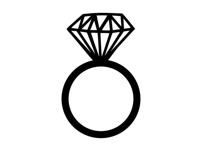 Diamond Ring Svg Silhouette Cutting File Clipart Scrapbooking Ring DXF png  Laser Engraving Image Tshirt Vinyl Cut File Inkscape Cnc Vector.