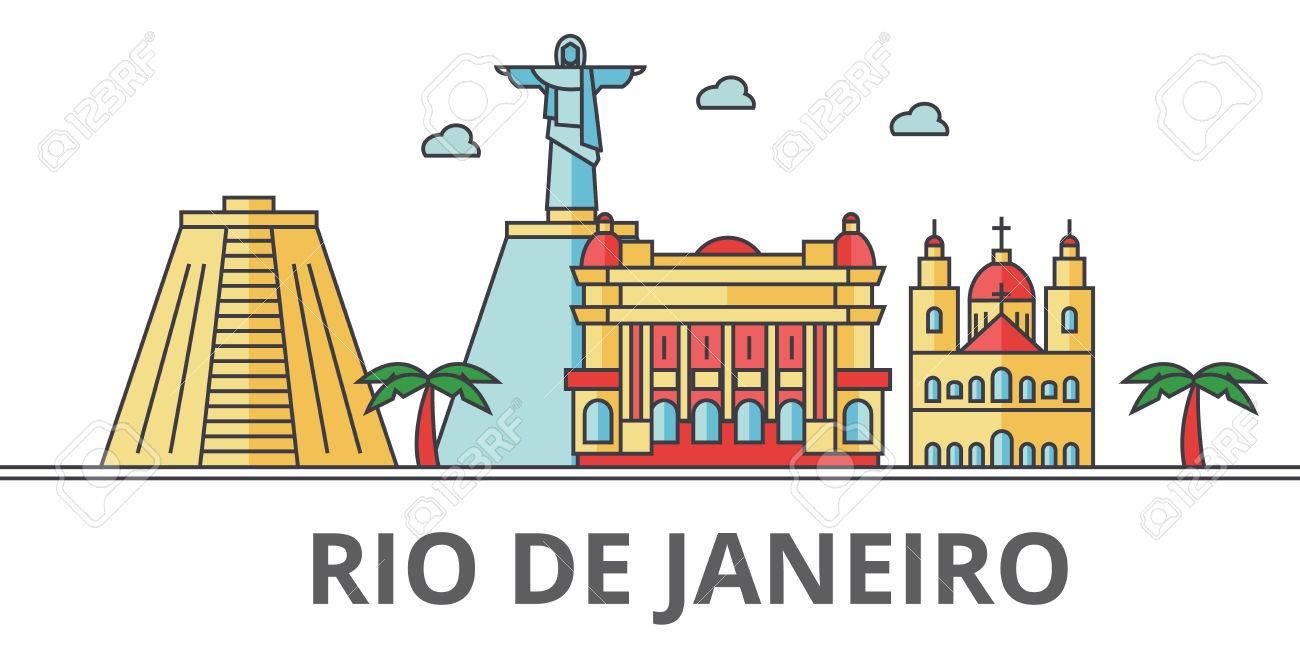 Rio De Janeiro city skyline. Buildings, streets, silhouette,...