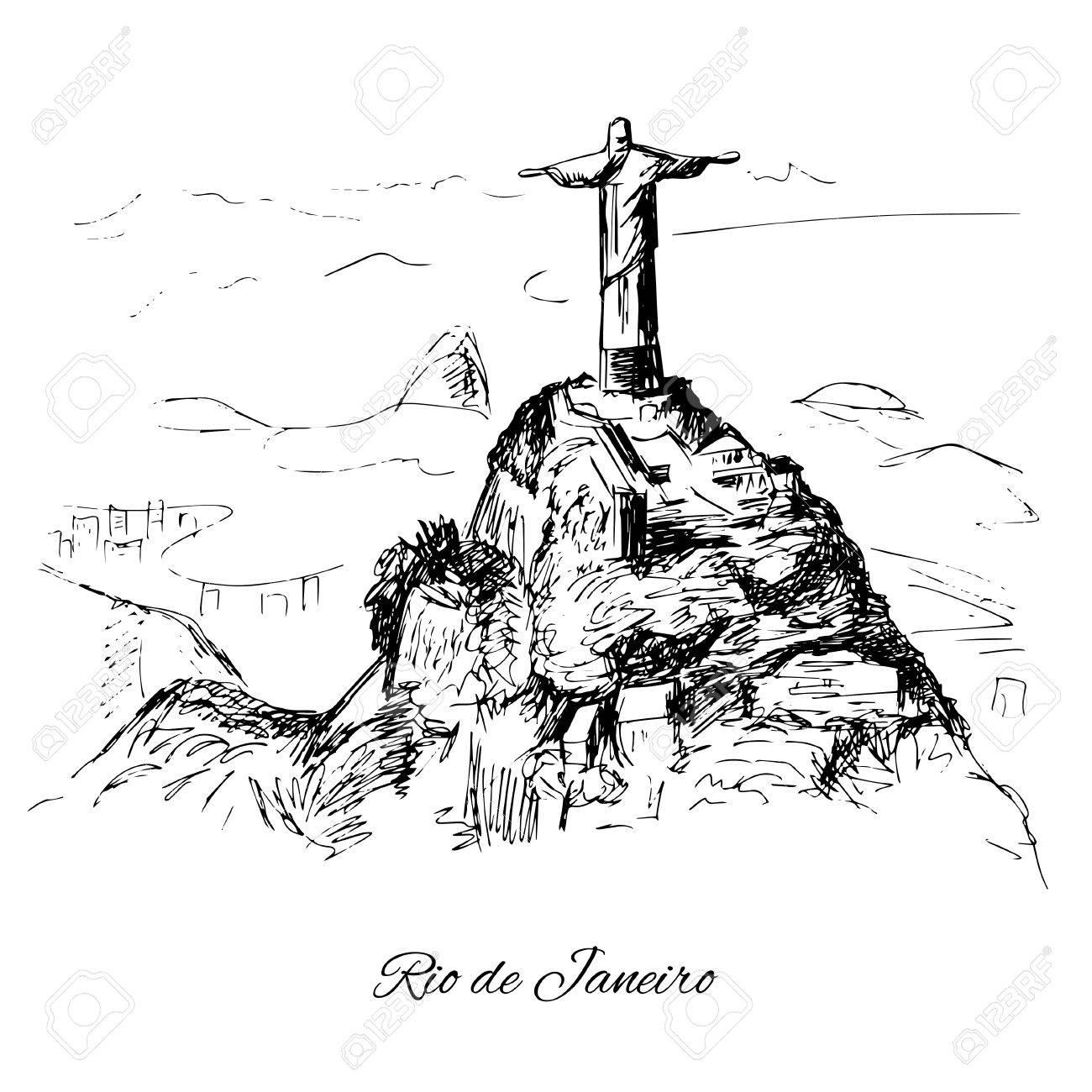 Hand drawn Rio de Janeiro coast.