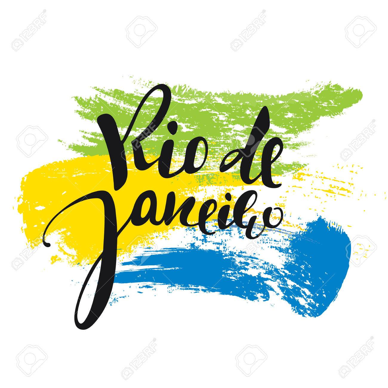 Rio de Janeiro inscription, background colors of the Brazilian...