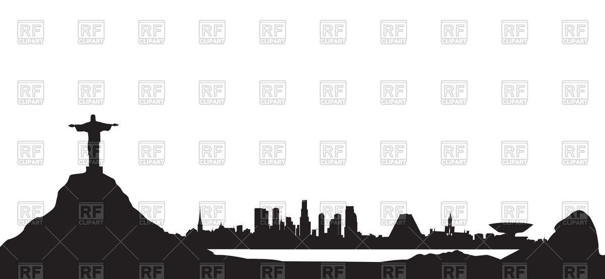 Rio de Janeiro city lagoon skyline. Cityscape silhouette with mountains.  Stock Vector Image.