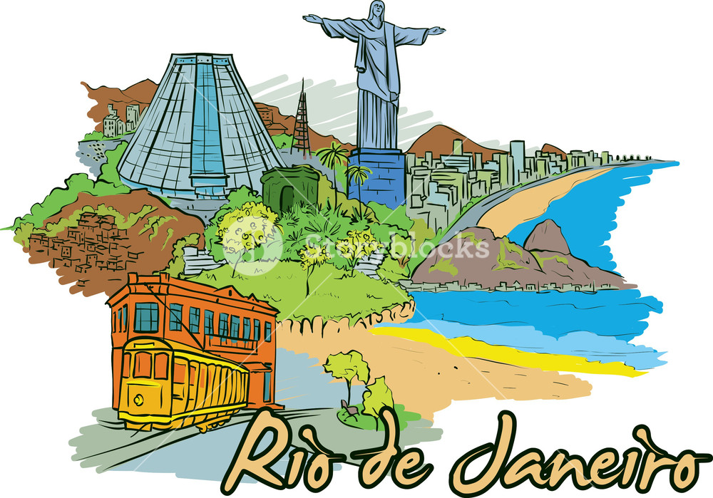 Rio De Janeiro Vector Doodle Royalty.