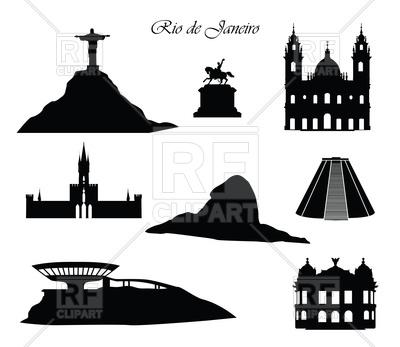 Rio de Janeiro city signs. Landmarks set. Vector Image.
