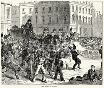 Riots at Belfast 19th Century Clipart Image.