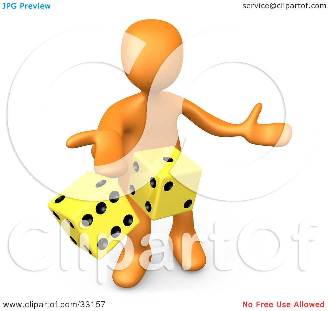 Clipart Illustration of a 3d Orange Person Tossing Up A Pair Of.