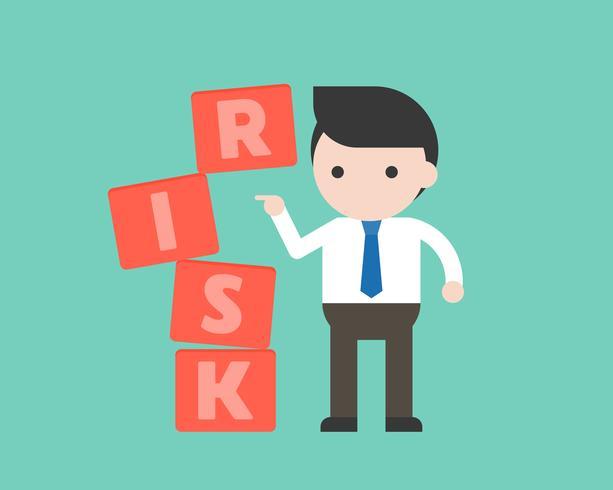 businessman push the block, risk management concept.