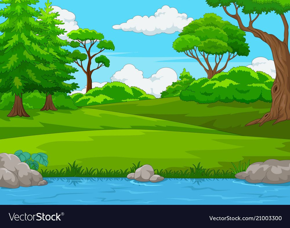 Forest scene with many trees and river Royalty Free Vector.
